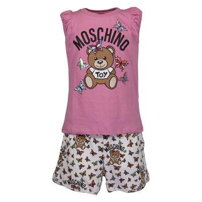 Completo Teddy Bear in jersey di cotone con t-shirt rosa e shorts bianchi