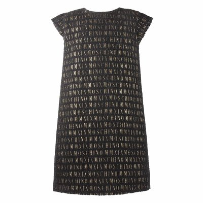 Moschino Vestito nero in lana vergine con logo