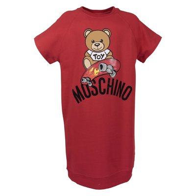 Red cotton Teddy Bear sweatshirt dress