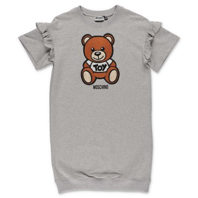 MOSCHINO Teddy Bear melange grey cotton dress
