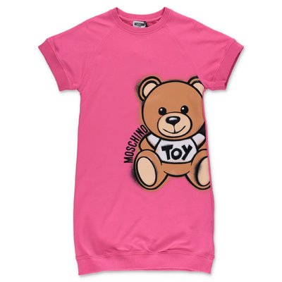MOSCHINO Teddy Bear fuchsia cotton dress