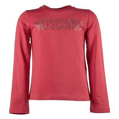 T-shirt rossa in jersey di cotone logo con cristalli