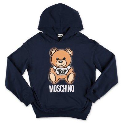 MOSCHINO felpa blu navy Teddy Bear in cotone con cappuccio