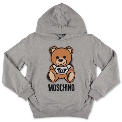 MOSCHINO Teddy Bear melange grey cotton hoodie