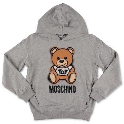 MOSCHINO felpa grigio melange Teddy Bear in cotone con cappuccio