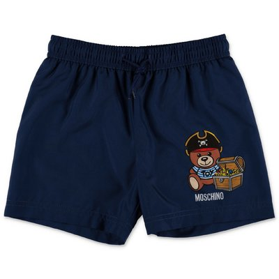 MOSCHINO navy blue nylon swim shorts