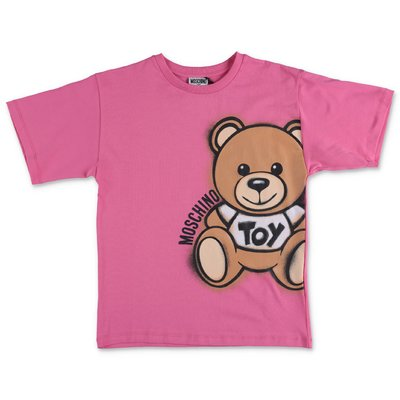 MOSCHINO t-shirt fucsia Teddy Bear in jersey di cotone