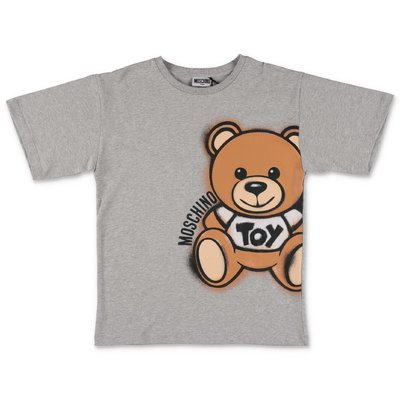 MOSCHINO t-shirt grigio melange Teddy Bear in jersey di cotone