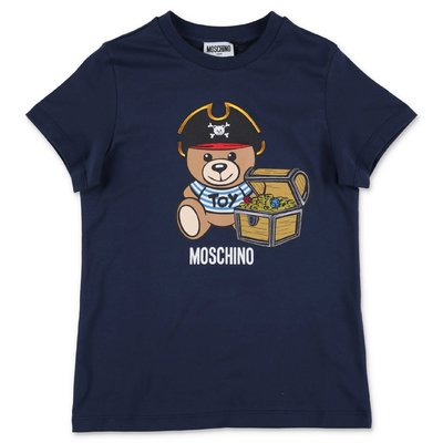 MOSCHINO t-shirt blu navy Teddy Bear in jersey di cotone