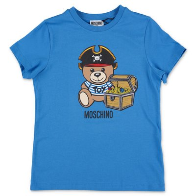 MOSCHINO t-shirt blu Teddy Bear in jersey di cotone