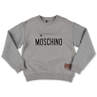 Moschino melange grey logo detail cotton sweatshirt