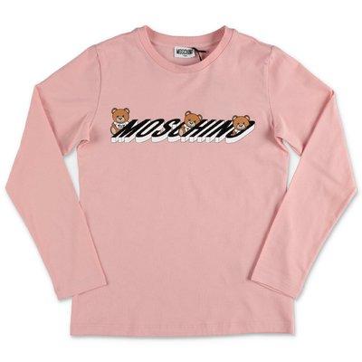 MOSCHINO t-shirt rosa in jersey di cotone