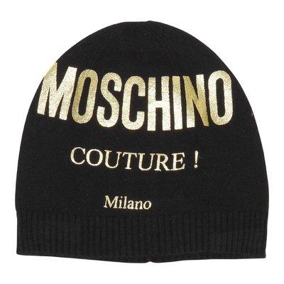 Cappello nero in maglia di misto cotone e lana con logo