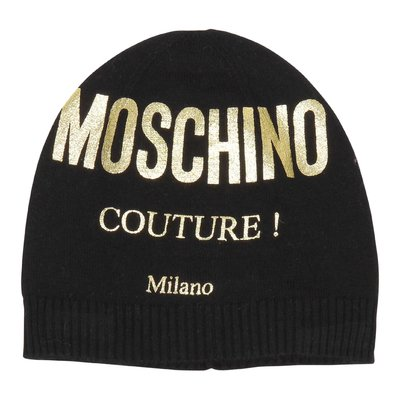 Black logo cotton blend & wool knitted hat