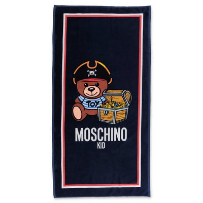 MOSCHINO Teddy Bear blue towelling cotton beach towel