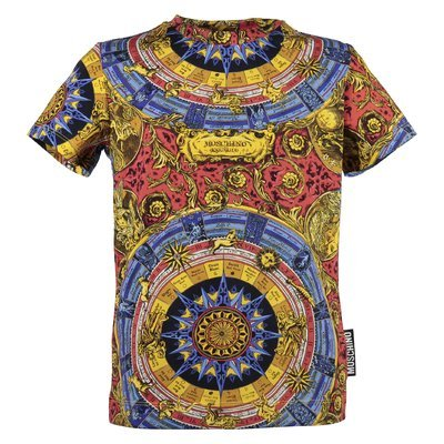 zodiac pattern cotton jersey T-shirt