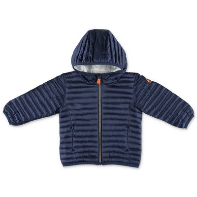 Save The Duck blue nylon down jacket with hood