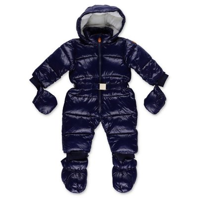 Save The Duck blue nylon romper with hood
