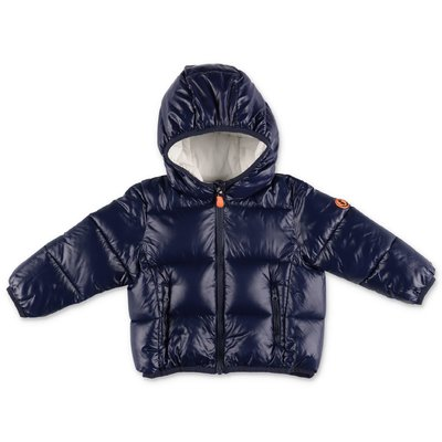 Save the Duck dark blue nylon down jacket with hood