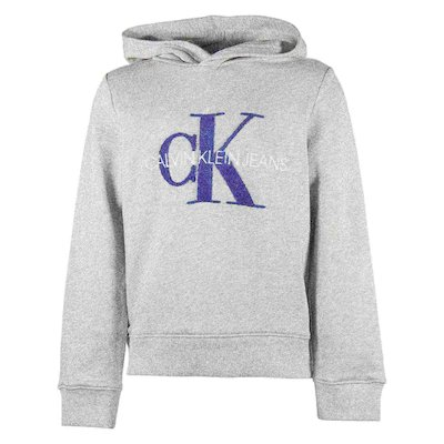 Marled grey cotton sweatshirt hoodie