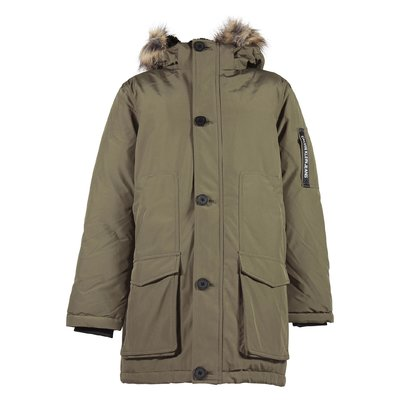 Military green parka with hood and eco shearling lining