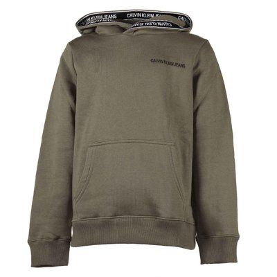 Military green cotton blend sweatshirt hoodie