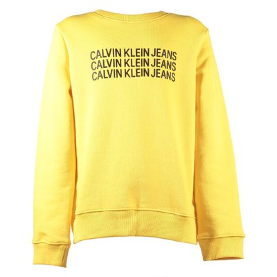 Yellow multi logo cotton blend sweatshirt