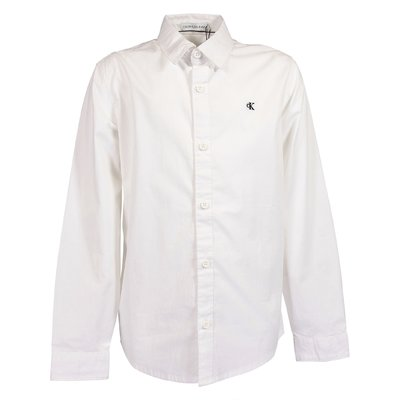 White logo detail organic cotton poplin shirt