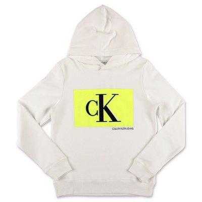 Calvin Klein felpa bianca in cotone organico con cappuccio