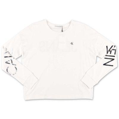 Calvin Klein t-shirt bianca in jersey di cotone organico con logo