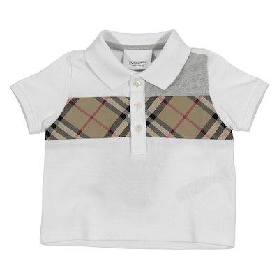 White cotton piquet polo shirt