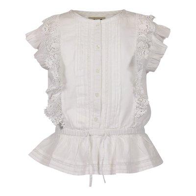 Blusa bianca in cotone con dettagli pizzo