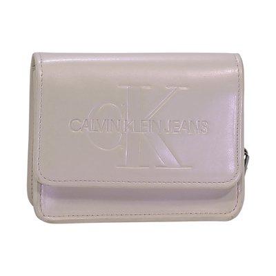 Calvin Klein white logo faux leather square shaped belt bag