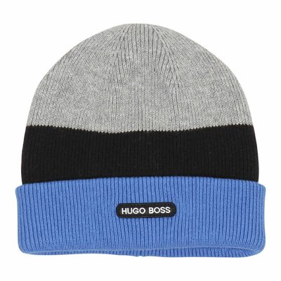 color block cotton ribbed knit beanie