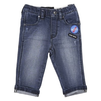 Stretch cotton denim vintage effect jeans