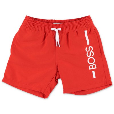 HUGO BOSS red nylon swim shorts