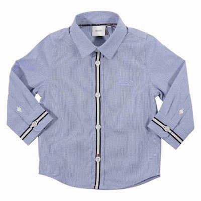 Camicia blu a quadretti in popeline di cotone con logo ricamato