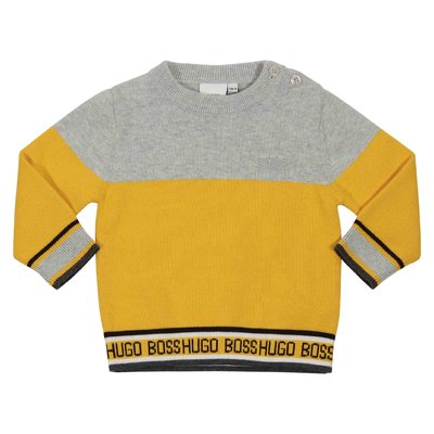 Yellow cotton jumper with contrasting color detail