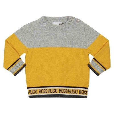 Pullover giallo in maglia di cotone con dettaglio a contrasto
