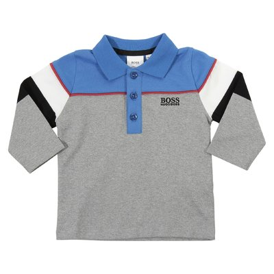 Color block cotton jersey polo shirt with embroidered logo