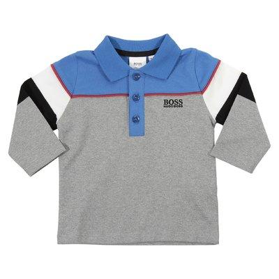 Polo color block in jersey di cotone con logo ricamato