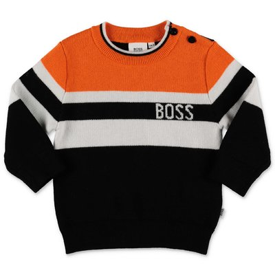 Hugo Boss black contrasting details cotton & wool knit jumper