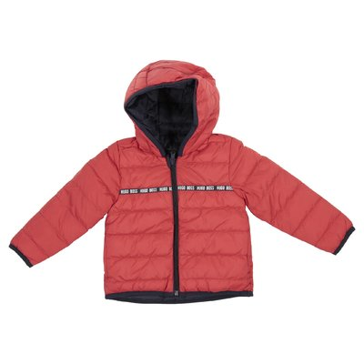 Red hooded down jacket