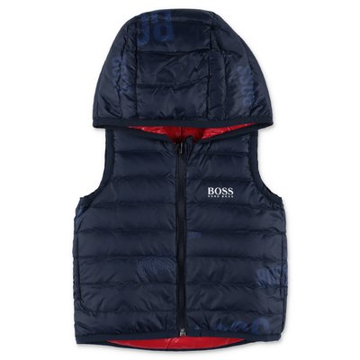 Hugo Boss nylon quilted reversible down jacket with hood
