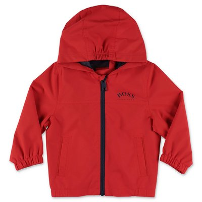HUGO BOSS red nylon hooded anorak