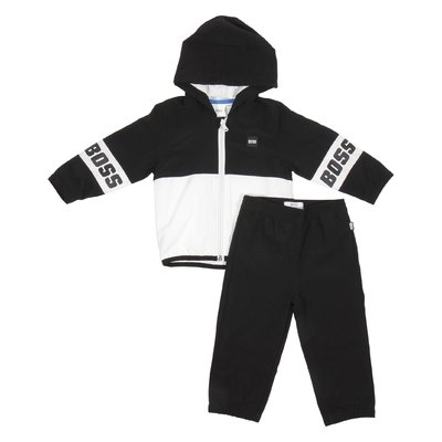 Hugo Boss black baby boy tracksuit with hood and contrasting color logo detail