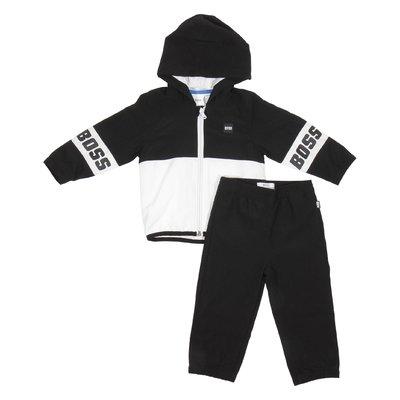 Hugo Boss tuta nera con cappuccio e dettaglio a contrasto baby boy