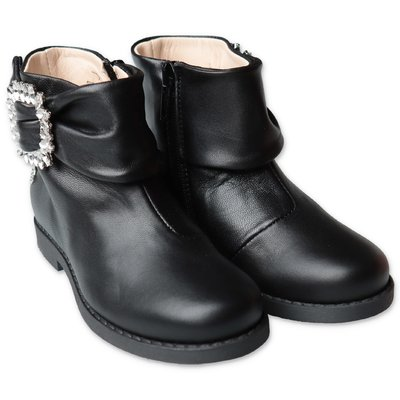 Florens black leather boots with decorative buckle