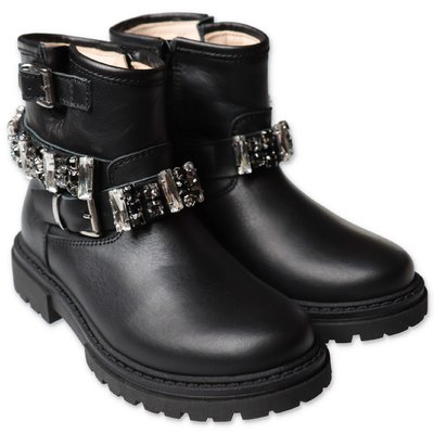 Florens black leather boots with crystals