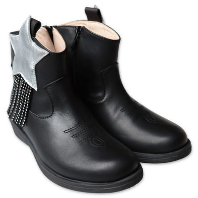Florens black leather camperos boots with silver star & crystals